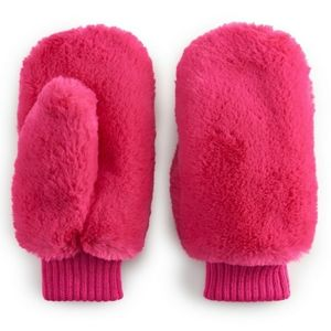 NWT Women's SO Faux Fur Mittens - Pink